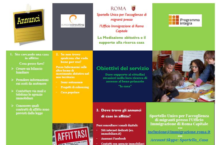 Sportello Casa online: mediazione abitativa e supporto alla ricerca casa per cittadini migranti e rifugiati